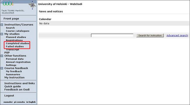 WebOodi instructions - Open University, University of Helsinki